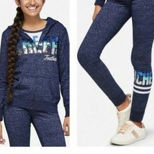 Justice blue/white Cheer Sequin Hoodie and Pants